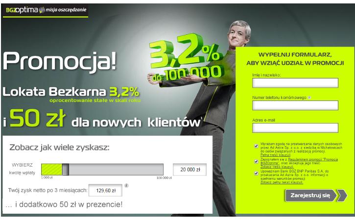 50 zł premii za założenie Lokaty Bezkarnej w BGŻ Optima!