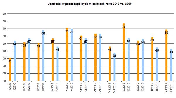 Upadłości w poszczególnych miesiącach roku 2010 vs. 2009